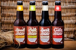 Product photograph of the Brew Hive beer and cider range.