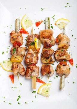 Photograph of zesty chicken skewers.