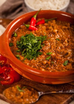 Photograph of bubbling homemade chilli con carne.