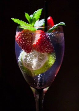 Photograph of a fruity cocktail.