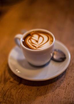 Photograph of barista made artisan coffee.