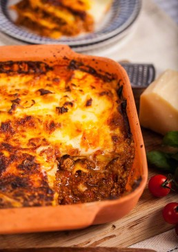 Photograph of homemade traditional beef lasagna.