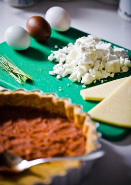Photograph of ingredients for a quiche.