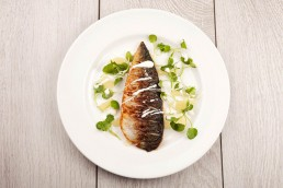 Photograph of fresh mackerel fillet.