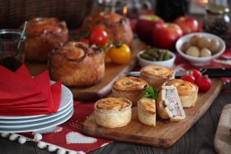 Photograph of a selection of delicious meat pies