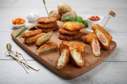 Photograph of a selection of potato rösti bites.